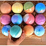 12 Bath Bombs Gift Set Super Large 5oz Each Best Gift Ideas for Women Teen Girls and Kids Handmade with Natural Vegan Shea & Cocoa Butter Spa with Fizzies and Included 12 Candles Mothers Day Gifts