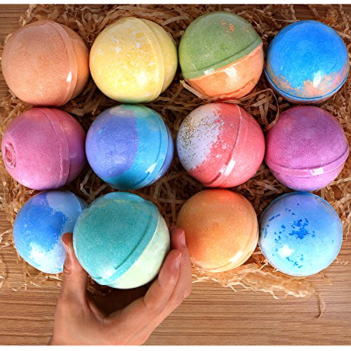 12 Bath Bombs Gift Set Super Large 5oz Each Best Gift Ideas for Women Teen Girls and Kids Handmade with Natural Vegan Shea & Cocoa Butter Spa with Fizzies and Included 12 Candles Mothers Day Gifts by RoseVale