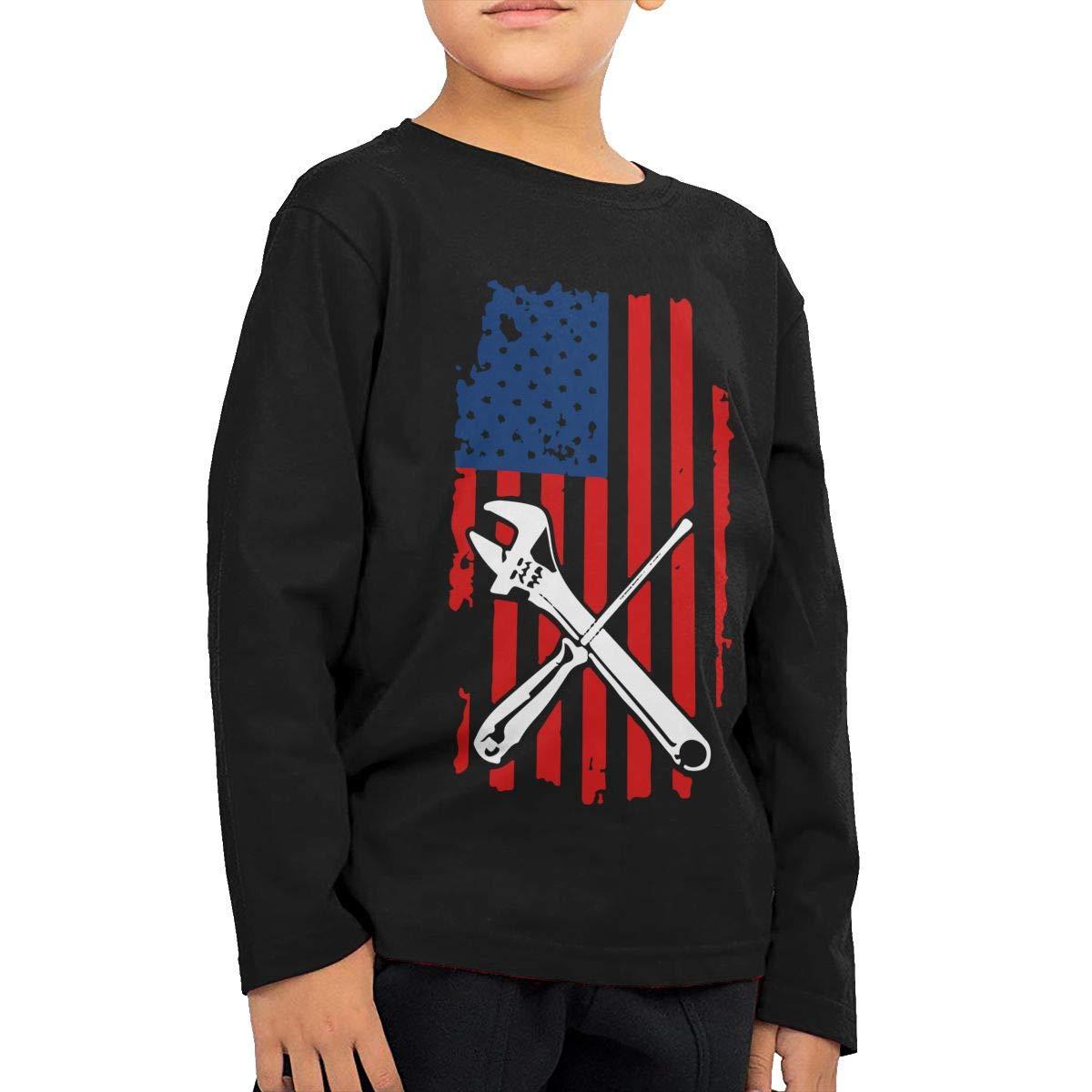 Mechanic Patriotic American Flag Novelty Toddler Kid Baby Boys Girls Long Sleeve T Shirts Top/&Tee