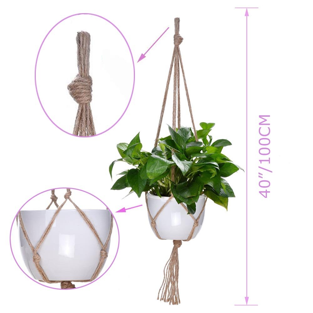 KICOCO Plant Hanger, 10 Pieces Hanging Planter Flower Pot Plant Holder Basket Jute Rope Holder for Indoor Outdoor Garden Home Decorations Natural
