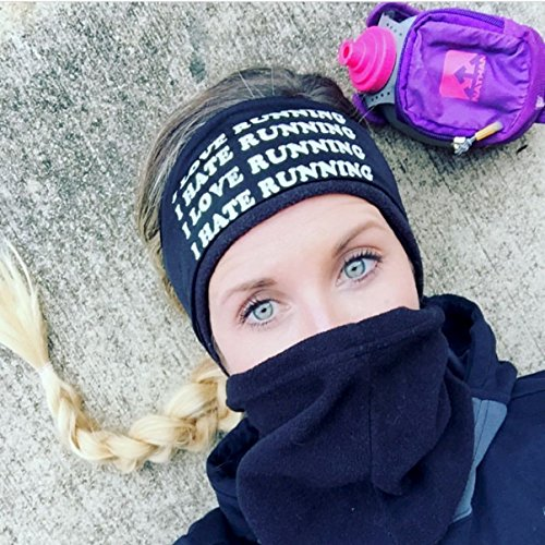 I Love Running-I Hate Running. Black headband with white letters. Headbands By Hippie Runner. The #1 Choice For Athletes! No Slip, No Drip Headbands For Running, Walking, Exercise Or Fashion!