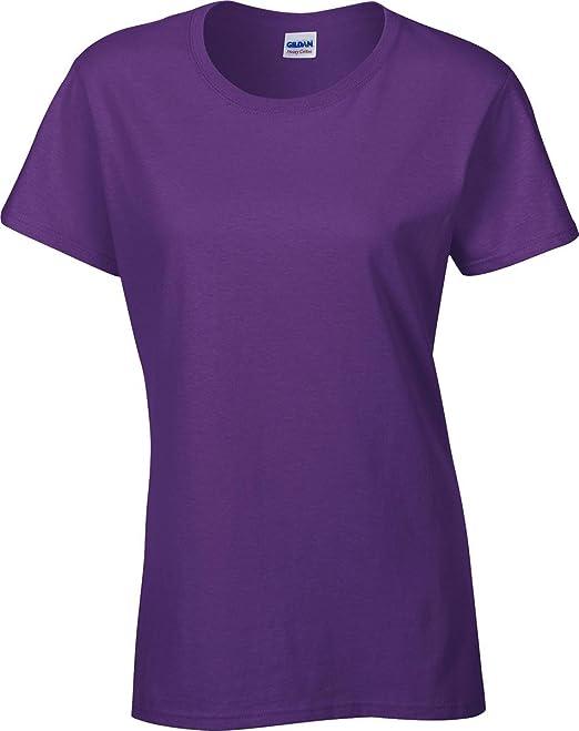 Gildan Damen T-Shirt Schwere Baumwolle Fitted Design s-sleeve  Rundhalsausschnitt Baumwolle Top,
