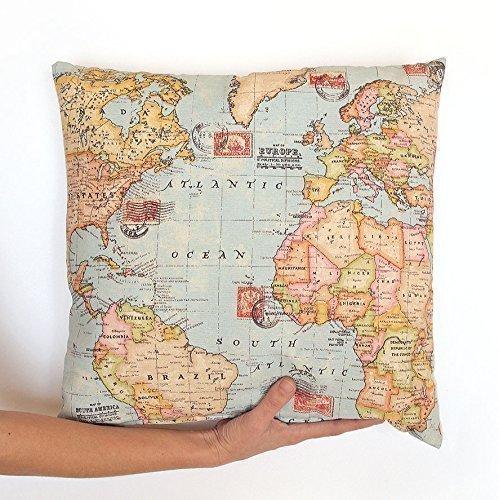 Cojín Postal mapamundi. Carta con mapa. Funda personalizada, bordado, ruta de viaje.: Amazon.es: Handmade