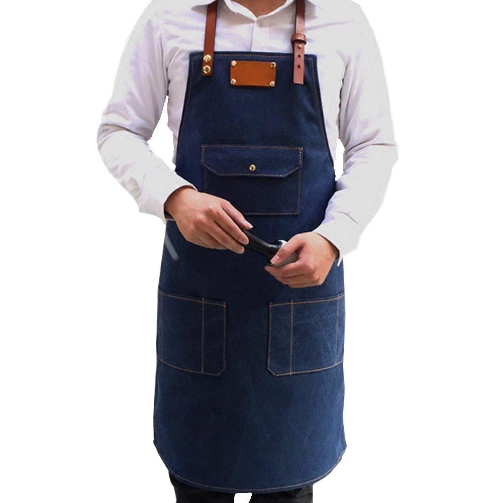 Sundlight Denim Apron, Adjustable Jean Kitchen Apron with 3 Pockets for Adult Unisex Apron