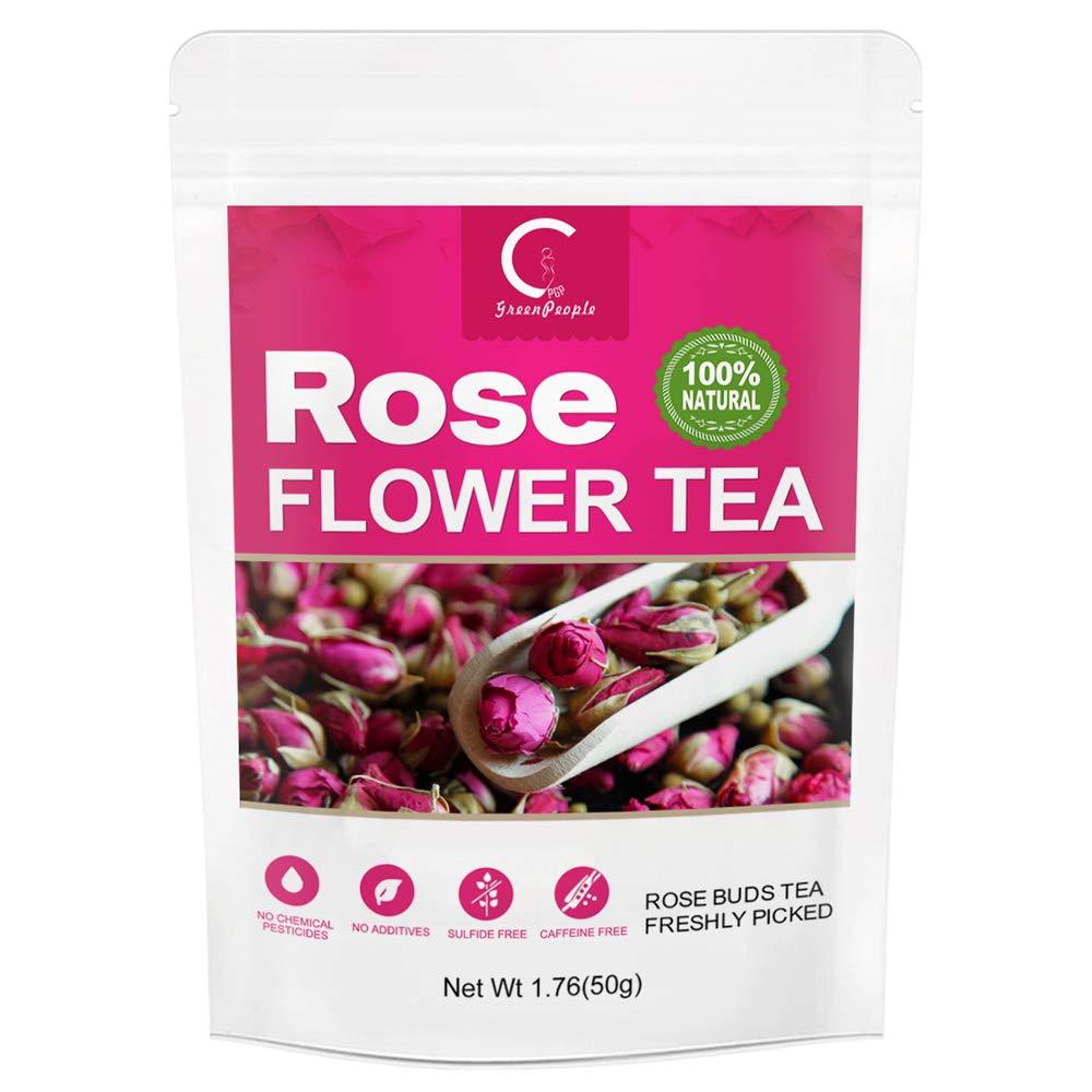 Rose Buds Tea for Baking&Drinks, GPGP Greenpeople Premium 100% Organic Edible Rose Herbal Flowers with Fragrance, Herbal Tea Relieve Stress& Promote Metabolism, Caffeine-Free – 1 Pack, 1.76 OZ
