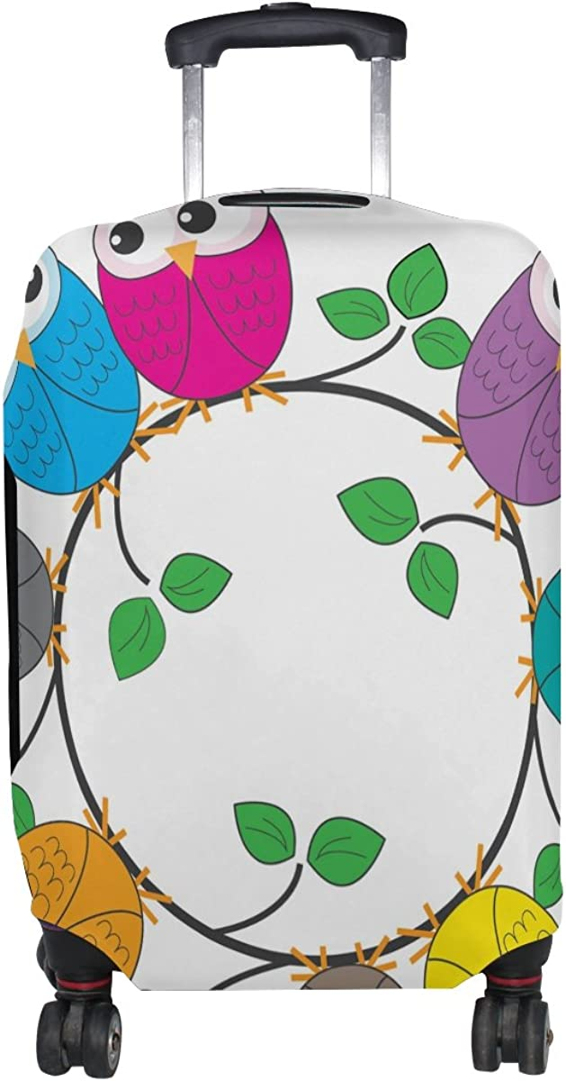 GIOVANIOR Owl On Ring Leaves Luggage Cover Suitcase Protector Carry On Covers
