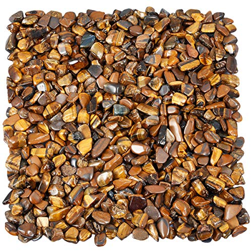 TUMBEELLUWA 1LB Chips Tumbled Stones Crushed Reiki Irregular Shaped Healing Crystal Quartz Decoration,Tiger's Eye