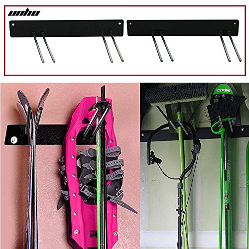 UNHO Ski Board Snowboard Rack Wall Mounted Hanger Display Garden Tool Racks Storage Holder for Brooms Golf Clubs Brushes Mops shovel spade (Mounted Ski Rack)