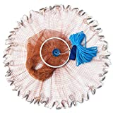 Drasry Saltwater Fishing Cast Net with Aluminum Frisbee for Bait Trap Fish Throw Net. Size 4FT/5FT/6FT/7FT Radius Freshwater Casting Nets (Tire Lines Cast Net(0.59Inch Mesh), 7FT (210cm) Radius)