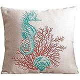 "SIXSTARS Cotton and Flax Ocean Park Theme Decorative Pillow Cover Case 18"" x 18"" Square Shape-ocean-beach-print (Coral Leaf)"