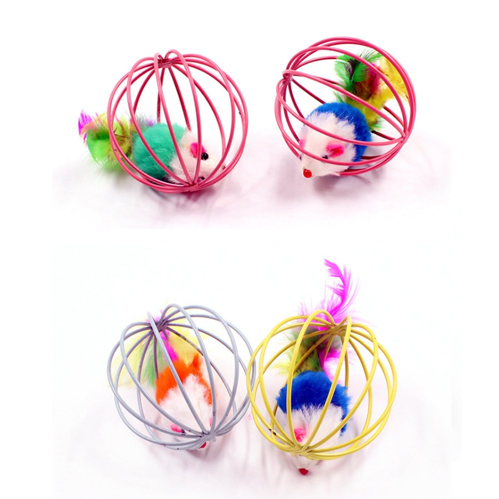 PetFavorites Catch The Mouse Cat Toy Ball with Feathers for Cats, Pack of 24 by PetFavorites