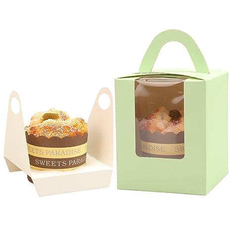 Villavivi - 20 cajas de cartón para tarta de postre para fiesta de cumpleaños verde