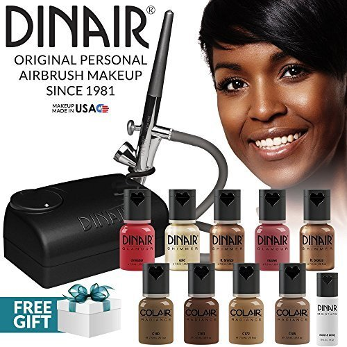 Dinair Airbrush Pro Makeup Kit | Dark Shades | 10pc Make-up Set | Multi-Purpose for Foundation, Blush, Shimmer, Concealer, Eyeliner | Plus Shadow/Brow Stencils