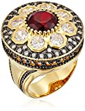 18k Gold Plated Gunmetal Brass Ruby-Colored Glass and Clear Cubic Zirconia Vintage Estate Ring, Size 7