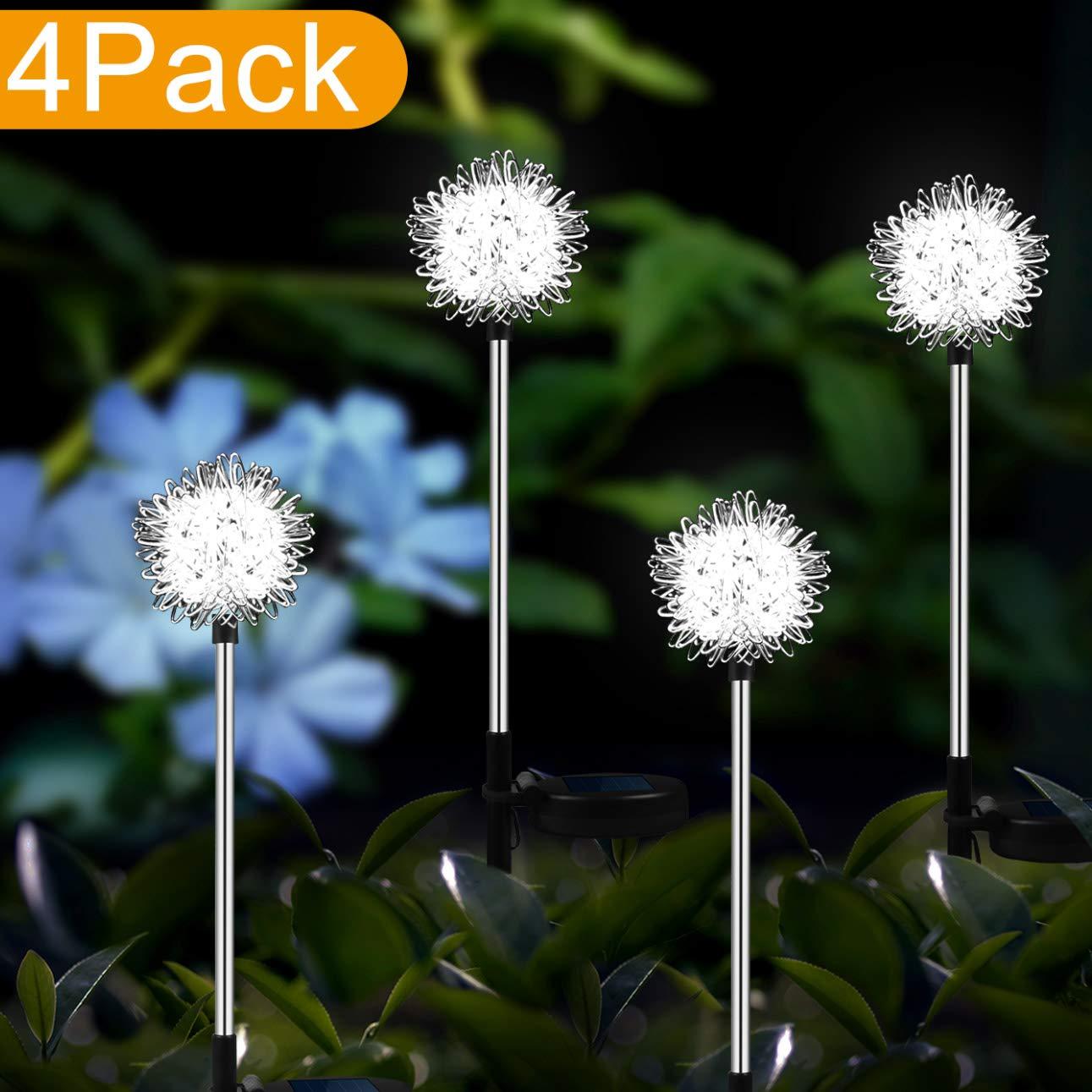 YIYAYIYAYO 4 Pack Solar Garden Lights Outdoor, LED Stake Landscape Lighiting with Dandelion Flower, Waterproof/Auto On/Off - Decorative Figurine Lights for Garden/Patio/Landscape/Pathway/Backyard