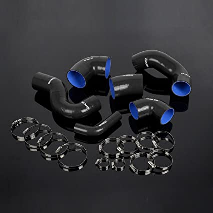 Gplus Silicone Turbo Hose Clamps Pipe Kit For FIAT COUPE 2.0 20V GT TURBO Black