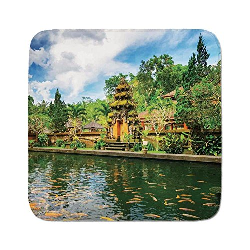 Bali Cushion Cover - Cozy Seat Protector Pads Cushion Area Rug,Balinese Decor,Tirta Empul Temple Bali Indonesia Exotic Trees Oriental Building Fish Lake Photo,Green Yellow,Easy to Use on Any Surface