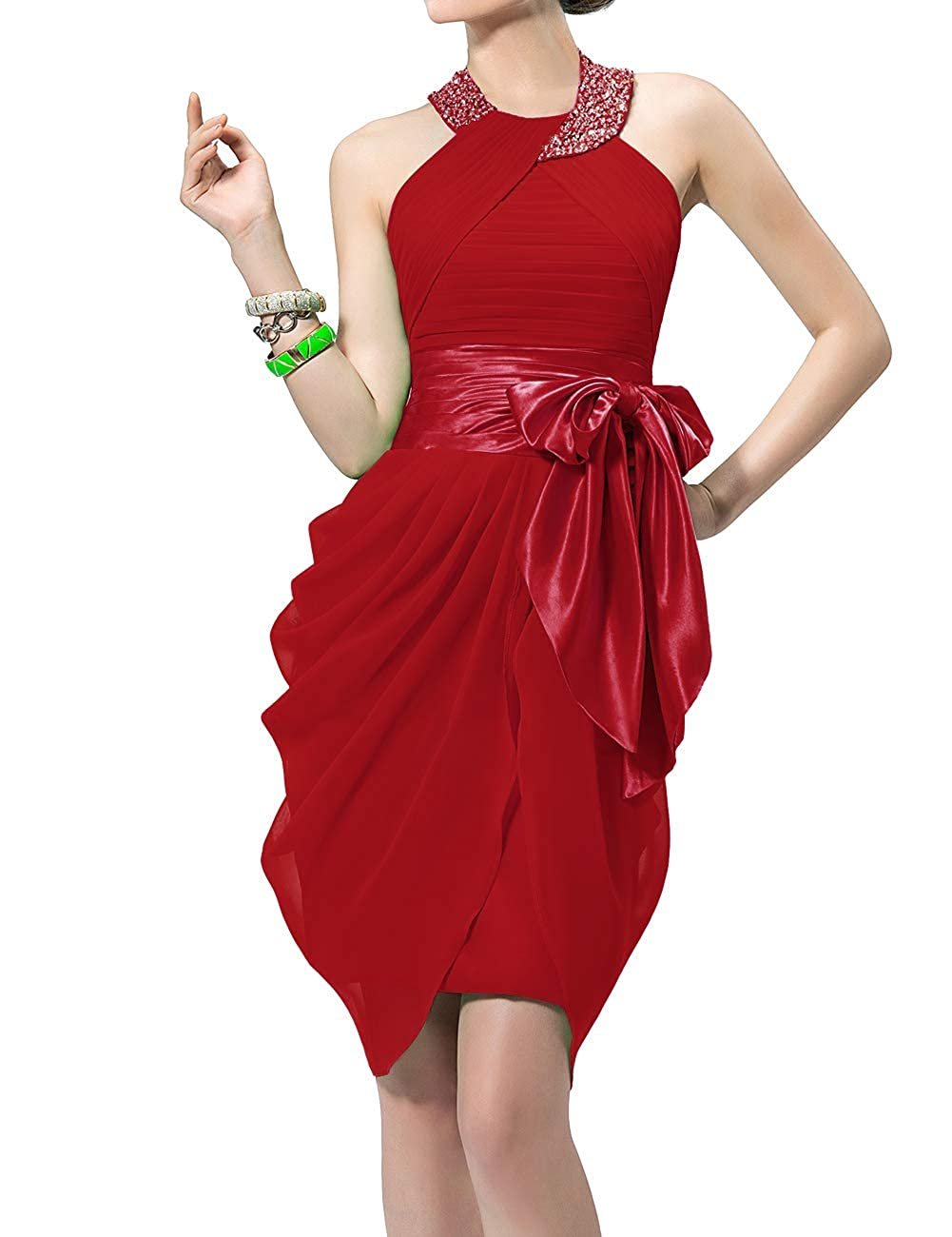 Wine Red Uther Halter Cocktail Dress Short Formal Party Gowns Beaded Pleats Bridesmaid Dresses