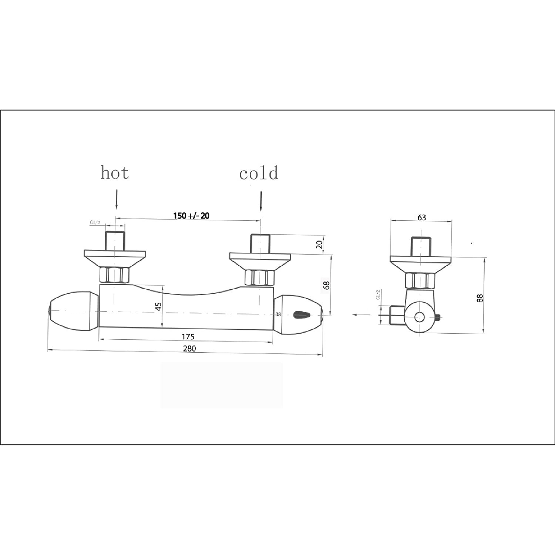 ENKI Miscelatore termostatico esterno per doccia doccetta multifunction asta