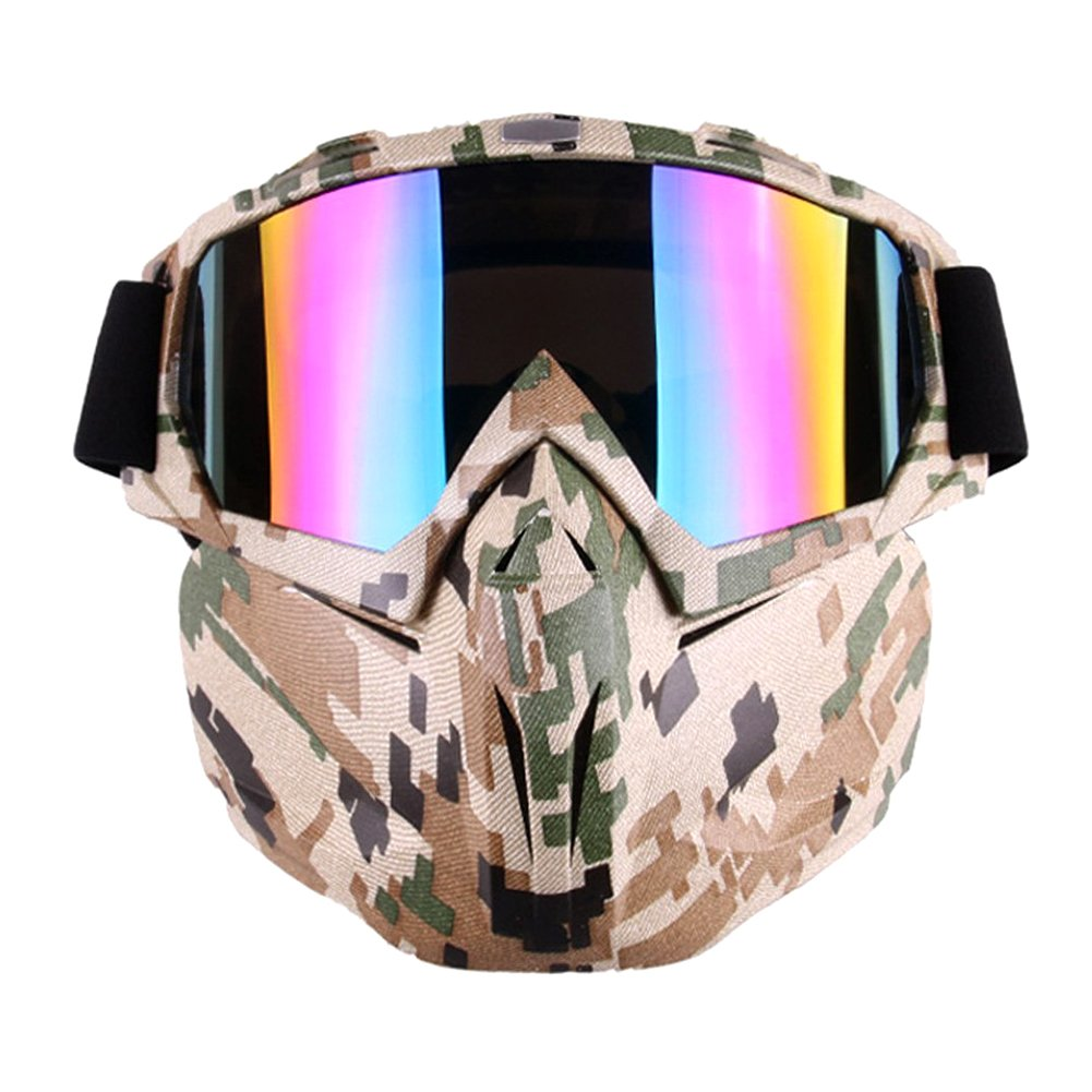 Freehawk Motorcycle Goggle Mask - Tactical Glasses with Detachable Mask for Airsoft/CS/Paintball/Skiing/Riding/Snowmobile/Cycling/Halloween/Costume Ball (Camo Pattern) by Freehawk