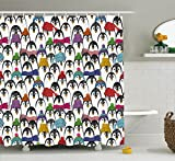 Sea Animals Shower Curtain by Ambesonne, Pattern with Cute Penguins in Colorful Hats and Scarfs Cold Winter Fun Art, Fabric Bathroom Decor Set with Hooks, 70 Inches, Multicolor