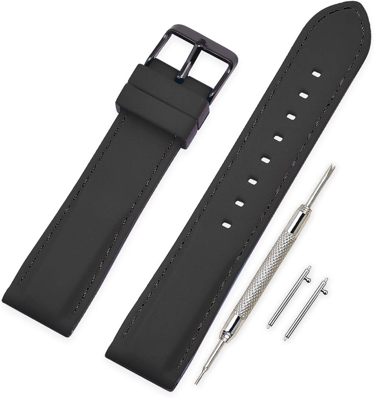 Vinband Correa Reloj Quick Release Recambios Correa Relojes Caucho - 18mm, 20mm, 22mm, 24mm Silicona Correa Reloj con Hebilla de Acero Inoxidable Cepillado