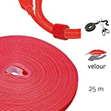 Cable Management Hook and Loop Tape, 25m, Red, Velour Quality - Cable Ties Reusable, Wire Ties Cut-to-Size, Cord Organizer, Wire Management, Cord Manager, Cord Ties - Pro 1260 ROLL Strap