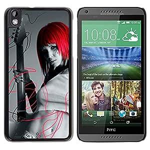 TopCaseStore / la caja del caucho duro de la cubierta de protección de la piel - Design Red Head Girl - HTC DESIRE 816