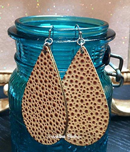 Ivory Cheetah Dot Leather Tear Drop Earrings