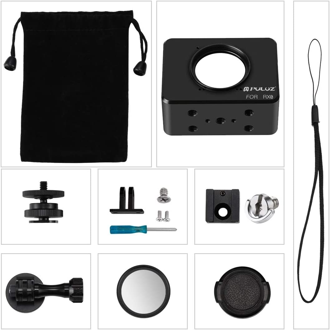 Black Color : Black MEETBM ZIMO,Housing Shell CNC Aluminum Alloy Protective Cage with 37mm UV Lens /& Base Mount /& Screw for Sony RX0