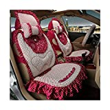 ALLCIAA Weaving Style Ruffled Seat Cover, Full Set Flat Cloth Lace Car Seat Cover Fit Most Car, Truck, SUV, or Van, Seat Cushion FitSeat Cover Combo Set for Women (Color : Red)