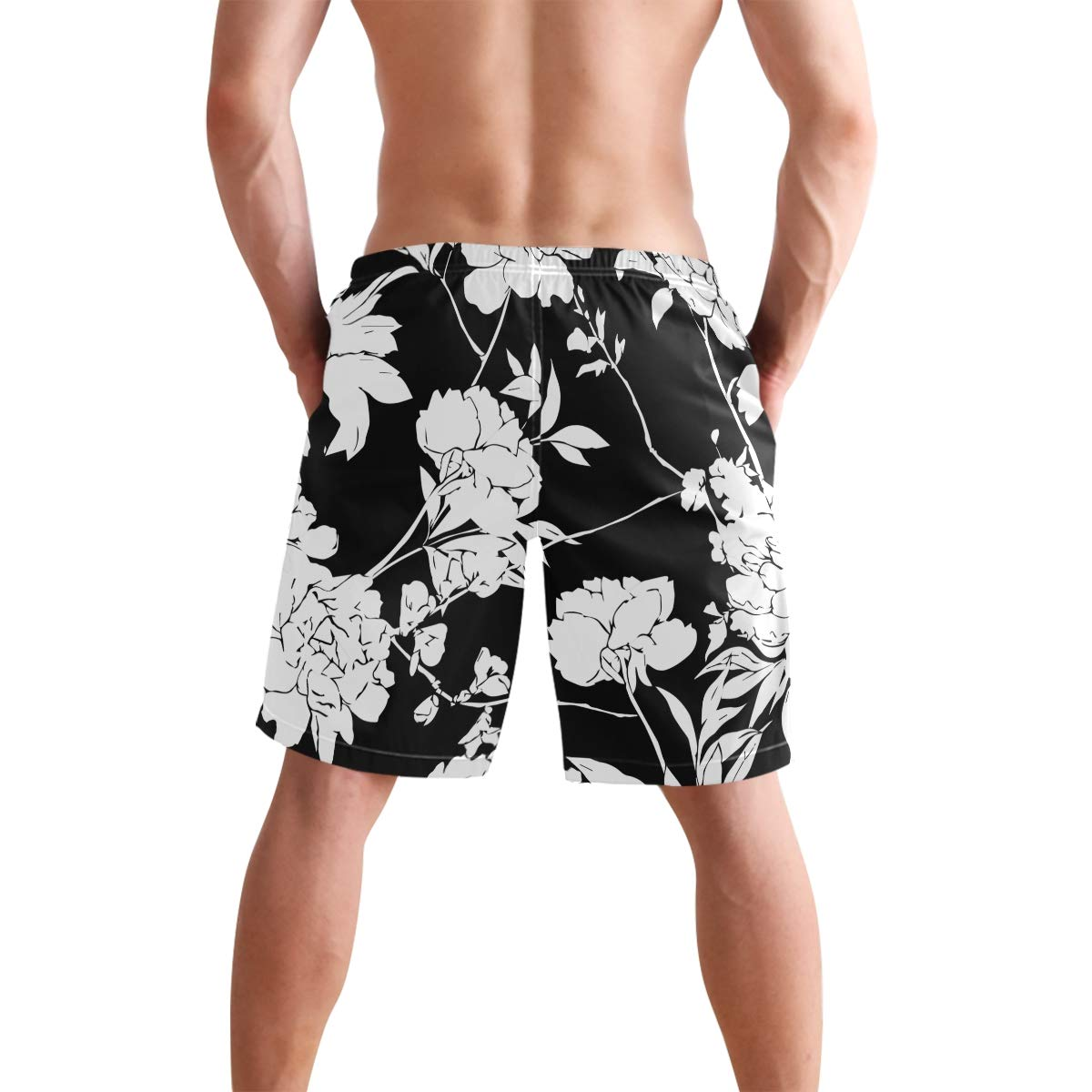 Humphy Albe Mens Blakc Peony Flowers with Leaves Quick Dry Bathing Suits Beach Board Shorts