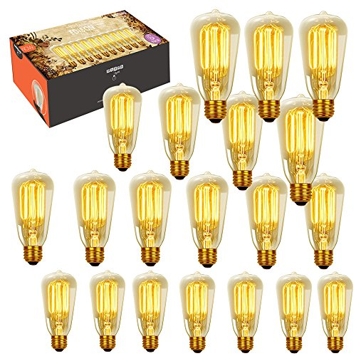 Gallery 20 Light - Edison Bulb - 20pack 40w Dimmable Vintage Antique Style - Original Nostalgic Reproduction Bulbs Filament for String Lights & Pendant Lamps