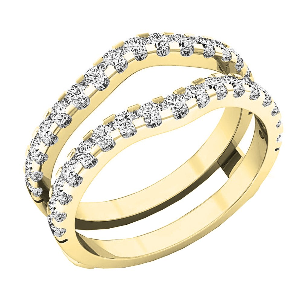 Dazzlingrock Collection 1.60 Carat (ctw) 10K Round White Cubic Zirconia Wedding Enhancer Double Ring, Yellow Gold, Size 7.5
