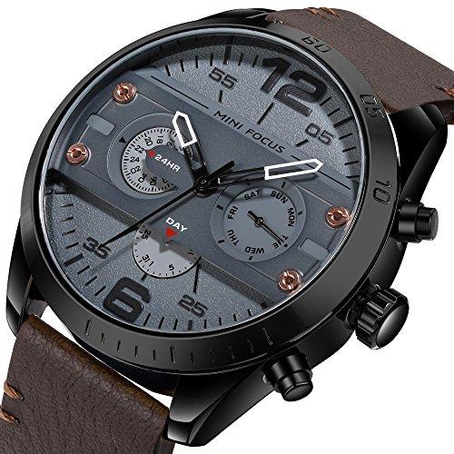 Men Quartz Business Waterproof Casual Analog Wrist Watch Men Sport Watch with Date and Week Display