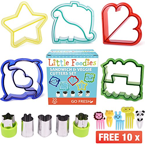 [20-Piece Set] Sandwich Cutters for Kids - 5 Sandwich Cutter Shapes, 5 Vegetable Cutters and FREE 10 Bento Decorations by GO FRESH