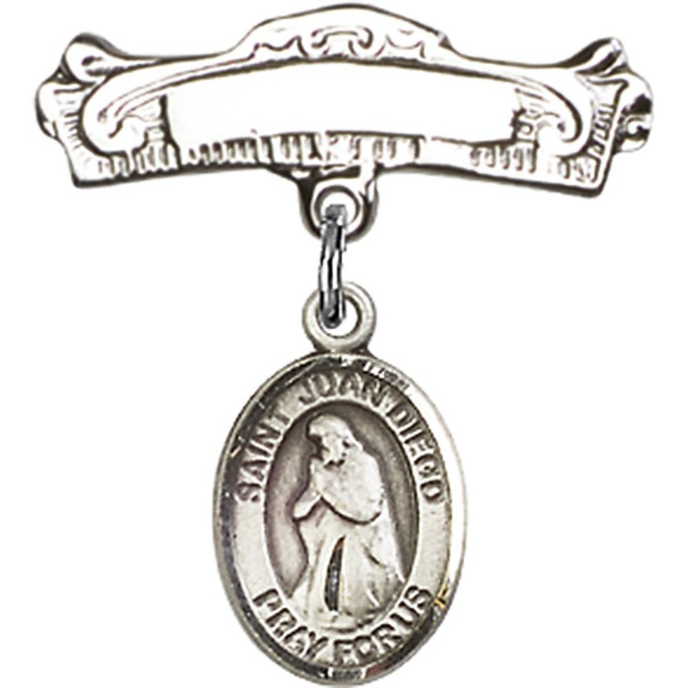 Sterling Silver Baby Badge with St. Juan Diego Charm and Arched Polished Badge Pin 7/8 X 7/8 inches