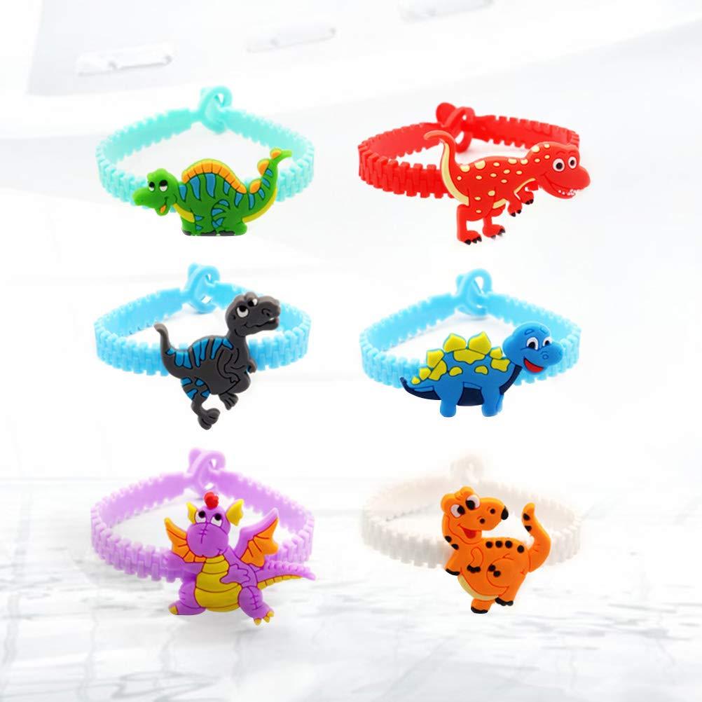 Toyvian Pulsera de Dinosaurio para ni/ños Pulseras Coloridas Pulseras de Silicona Cinturones para Regalos de Fiesta a Favor 12pcs