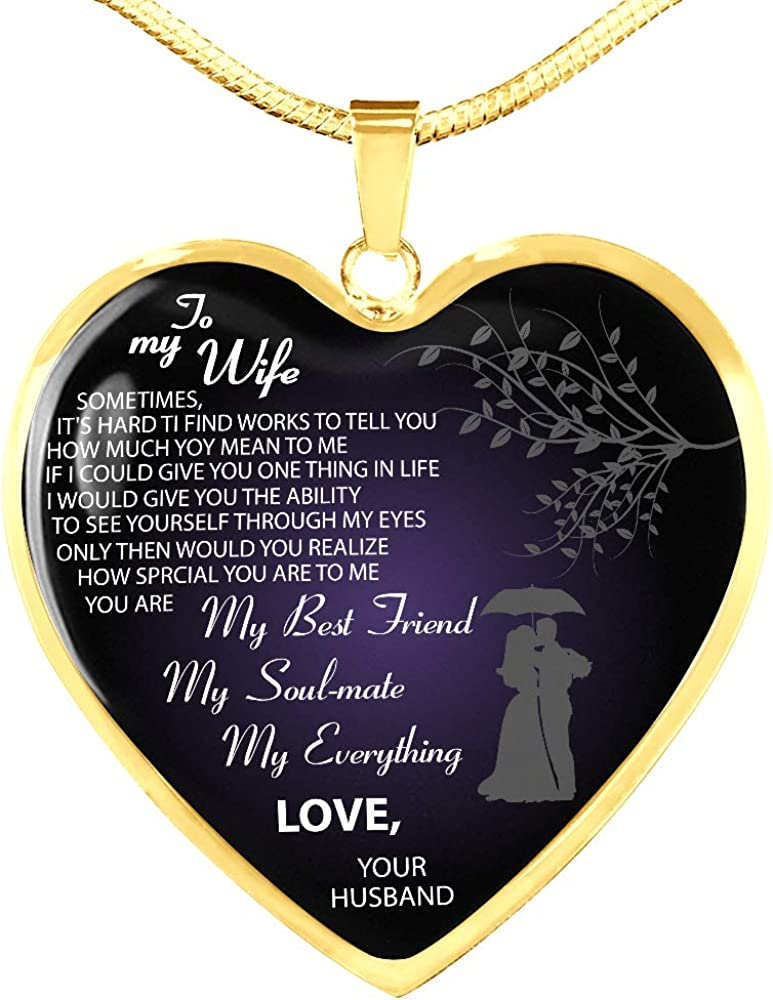 ZEN DEAL Husband and Wife Pendant to My Wife Necklace Valentines Gold Heart Pendant