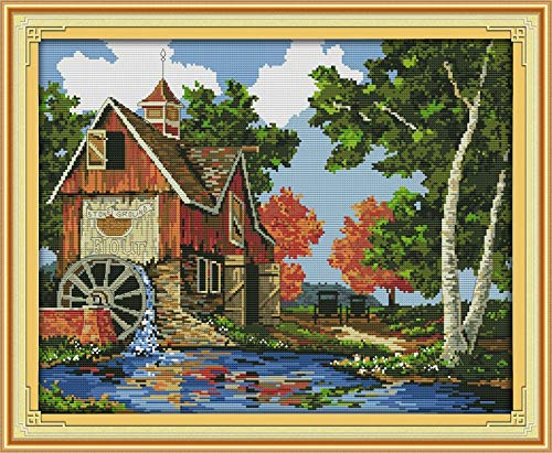 Zamtac Figure Style Log Cabin DIY Needlecraft Cross Stitch Embroidery Pintered or Counted Designs for Home Decoration - (Cross Stitch Fabric CT Number: 11CT Stamped Product)