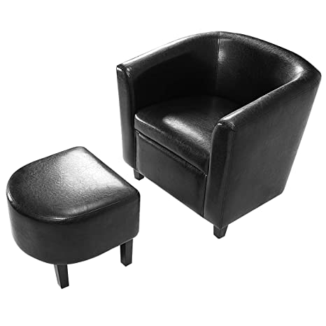 Amazing Giantex Pu Leather Accent Club Chair W Ottoman Single Sofa W Footrest Footstool For Kids Tub Barrel Style Armrest Chair Leisure Chair Wooden Frame Alphanode Cool Chair Designs And Ideas Alphanodeonline