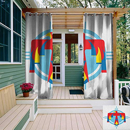 leinuoyi Southwestern, Outdoor Curtain Modern, Native American Mysterious Symbol of Thunderbird Abstract Artistic Tribal Icon, for Patio W72 x L108 Inch Multicolor