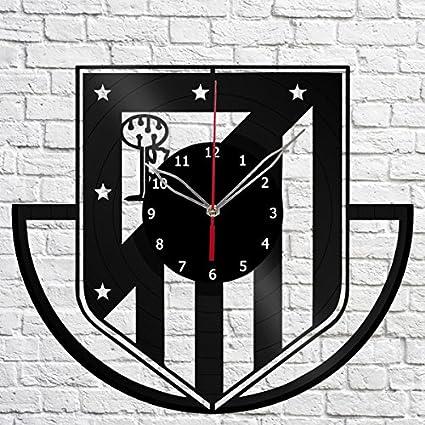 Vinyl Clock Atlético Madrid Vinyl Record Wall Clock Fan Art Handmade Decor Original Gift Unique Decorative