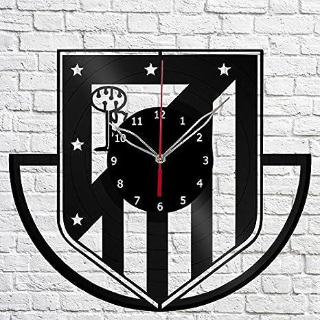 Reloj de Pared de Vinilo Atlético de Madrid con Grabado de Vinilo, Hecho a Mano, Regalo Original, decoración única, Color Negro, 30 cm: Amazon.es: Hogar