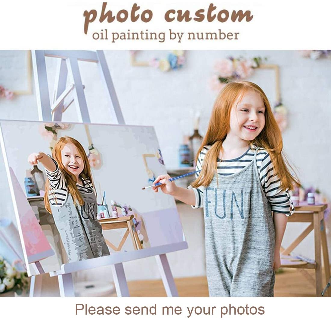 Amazon Com Custom Photo Paint By Numbers Kit For Adults Kids 16x20 Inch Personalized Canvas Draw Diy Oil Painting With Your Own Picture With Frame