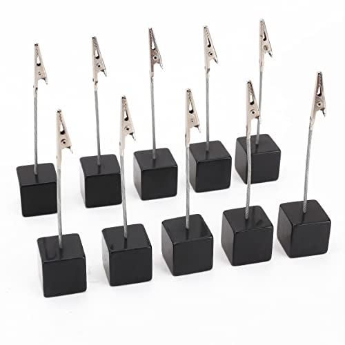 NUOLUX 10pcs Memo Clip Holder Stand with Alligator Clasp for Pictures Card Paper Note Clip (Black)