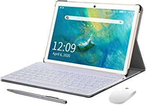 10 Inch Tablet with Keyboard Case, Android 9.0 Pie Tablet, 4GB RAM 64GB ROM/128GB Expand, Dual 4G SIM/WiFi Cellular, 15MP Camera, HD Glass Screen, 8000mAh, AM/FM, WiFi, Bluetooth, GPS, OTG