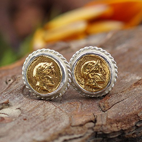Sterling Silver 925k 2 Tone Ancient Roman Art Stud Coin Earrings By Omer Handmade Ancient Coin Earrings