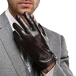 """Harrms Best Luxury Touchscreen Italian Nappa Genuine Leather Gloves for men's Texting Driving Cashmere Lining (L-8.9""""(US Standard Size), BROWN(Cashmere Lining ))"""