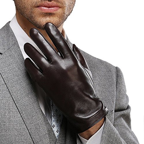 Harrms Best Luxury Touchscreen Italian Nappa Genuine Leather Cold Weather Gloves for men's Warm Lining (L-8.9